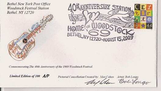 Special Woodstock Stamp Cancellation - 2009